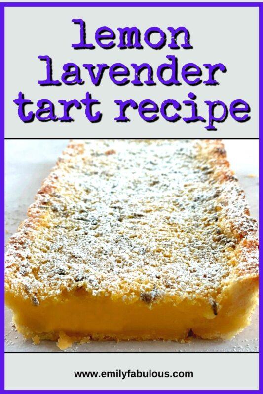 side view of a sliced lemon lavender tart