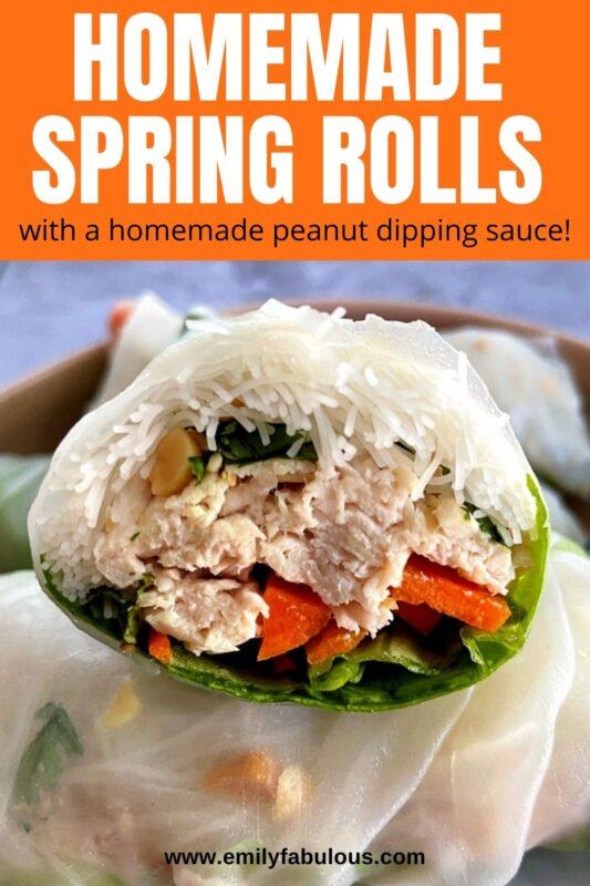 chicken spring roll cut in half to show inside