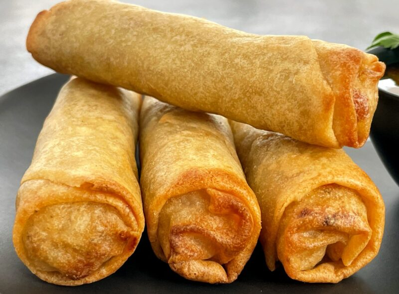spring rolls that have been fried in an air fryer