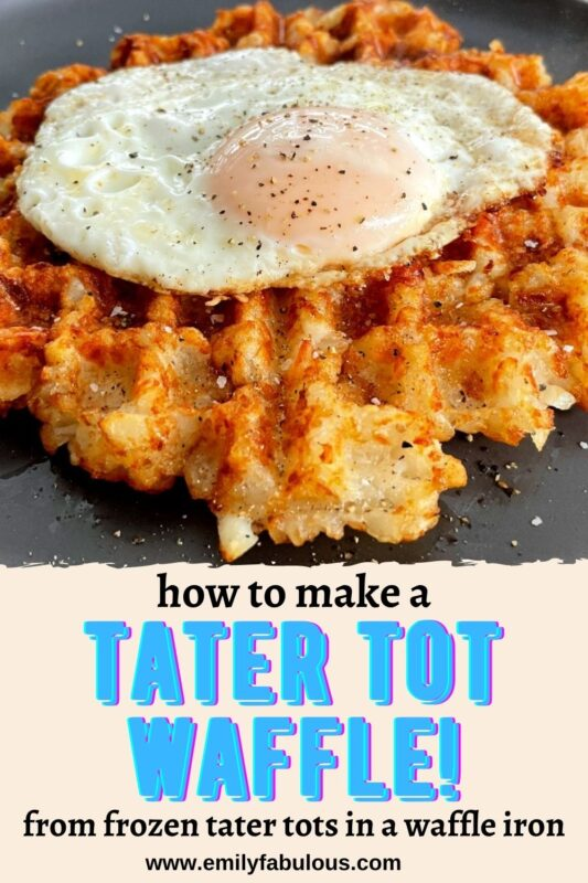 tater tot waffle with a fried egg
