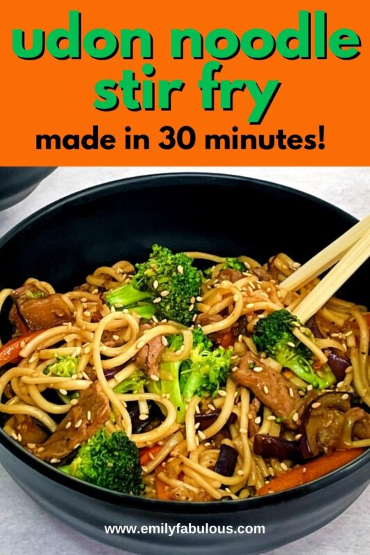 udon noodle stir fry with beef and vegetables
