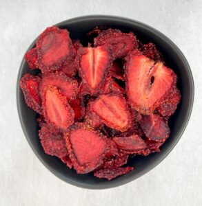 dehydrated strawberries in a bowl
