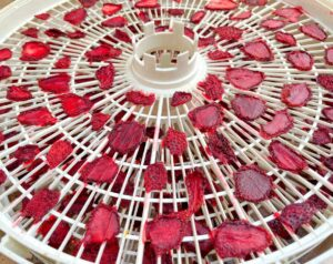 dehydrated strawberries on a tray