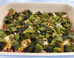 roasted chiles in pan for relleno dip