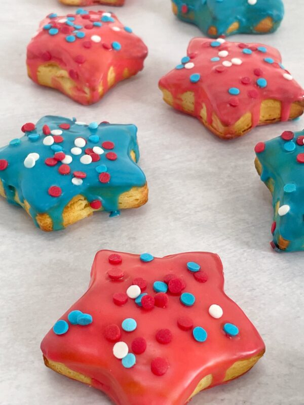 air fried star donuts with sprinkles on a table