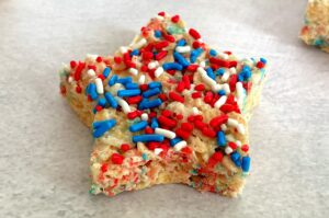 star rice krispie treat with sprinkles on top
