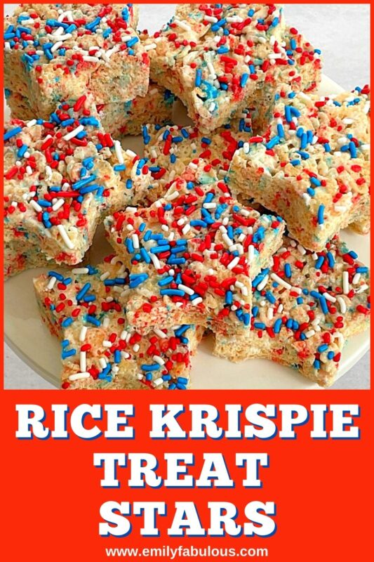 star rice krispie treats with red, white, and blue sprinkles