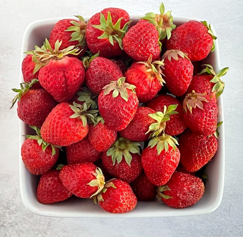 strawberries in a fruit basket