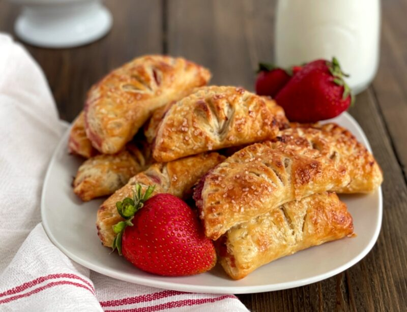 air fryer strawberry hand pies on a plate