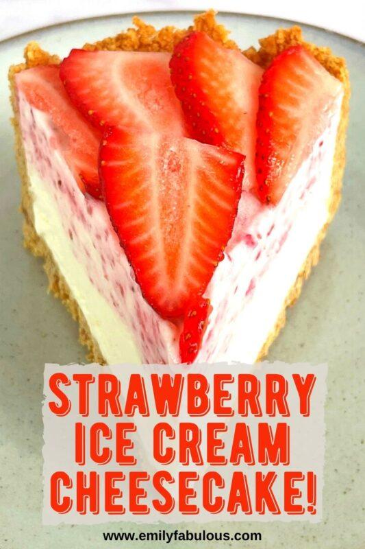 a slice of strawberry ice cream cheesecake