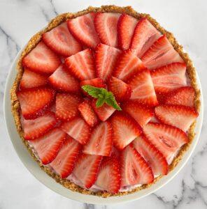 top of strawberry cheesecake ice cream pie