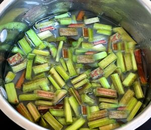 rhubarb, sugar and water in a pan