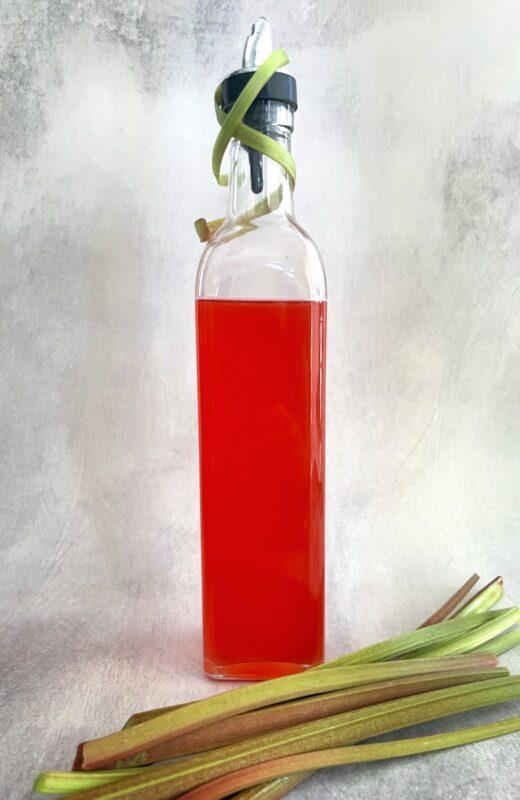 rhubarb syrup with rhubarb pieces