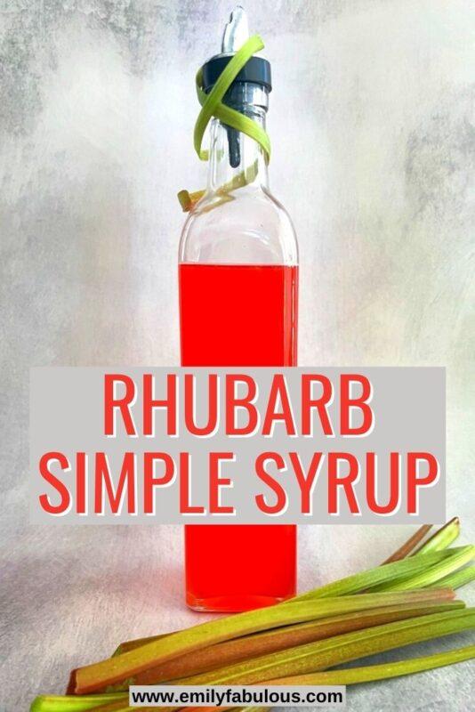 a bottle of rhubarb simple syrup and fresh rhubarb stalks