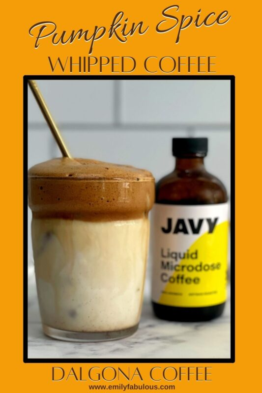 an iced pumpkin spice dalgona coffee and liquid coffee concentrate by Javy