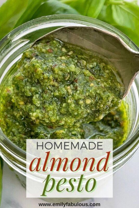 homemade almond pesto in a jar