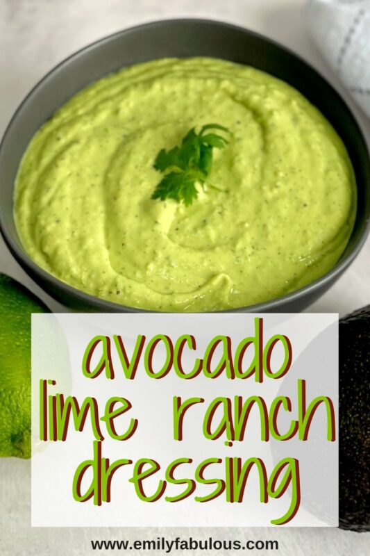 avocado lime ranch salad dressing in a bowl
