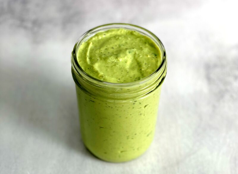 avocado lime ranch dressing in a jar