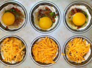 bacon egg and cheese cups before baking