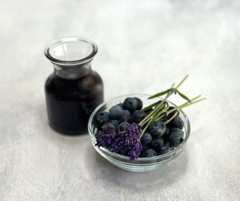 blueberries, lavender and syrup