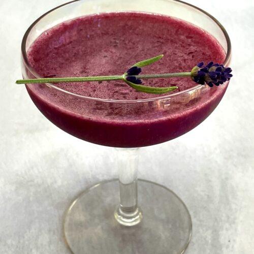 blueberry lavender cocktail with a lavender sprig