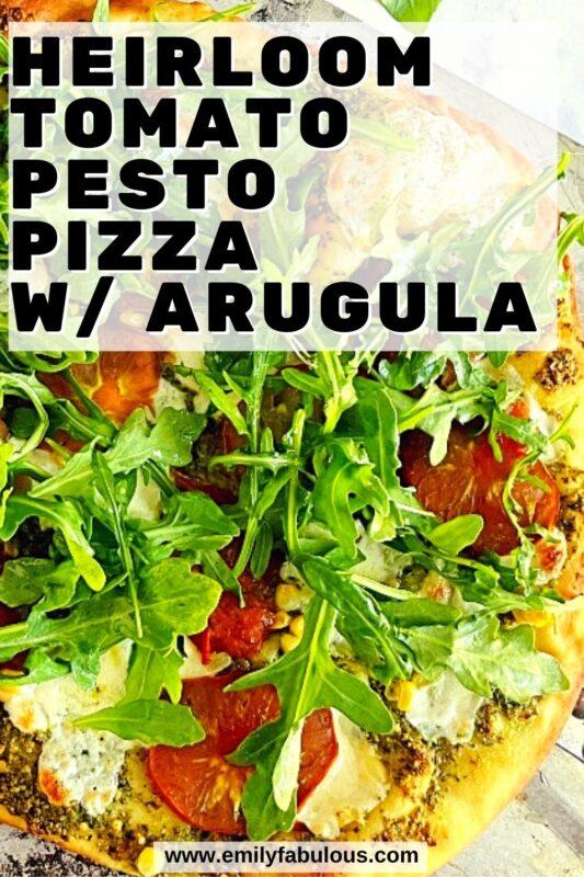 veggie garden pizza with fresh arugula on top