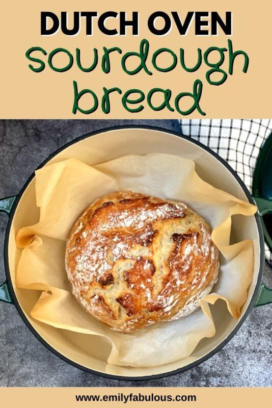 no knead sourdough bread in a dutch oven