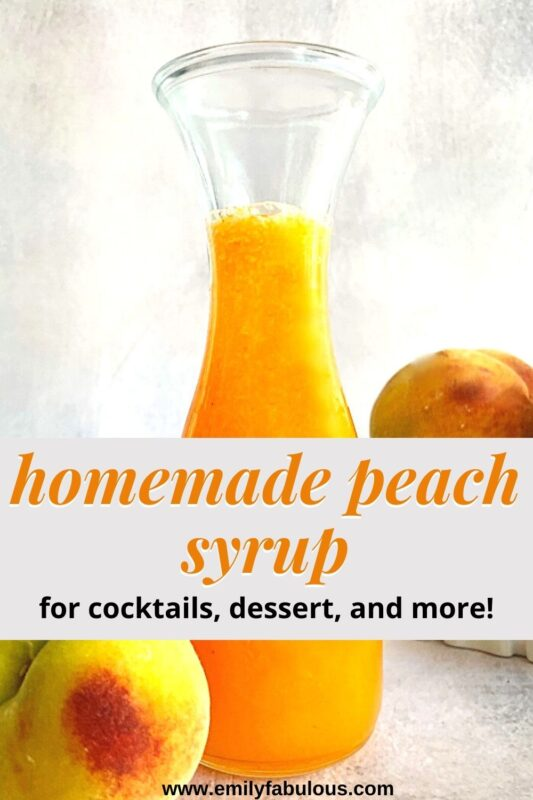 peach syrup in a bottle