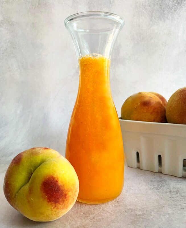 peach syrup and fresh peaches
