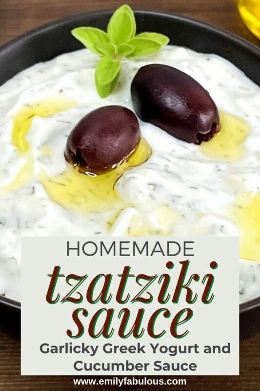 homemade Garlicky Greek Yogurt and Cucumber Sauce in a bowl
