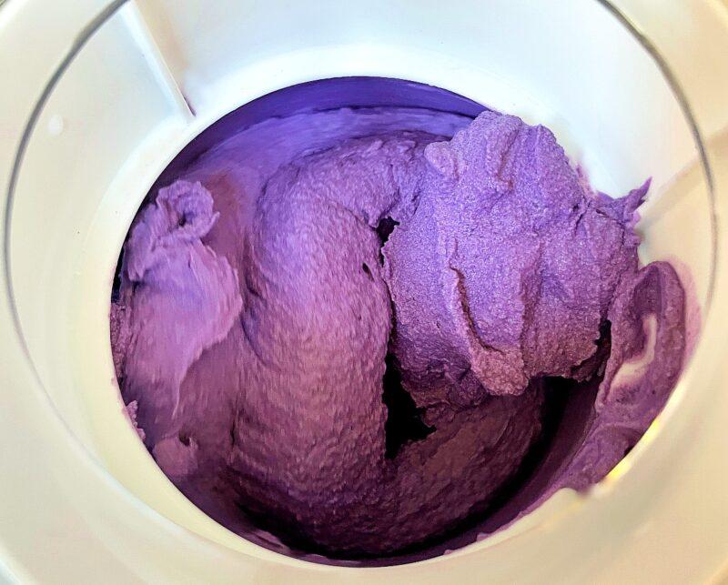 purple yam ice cream in an ice cream maker