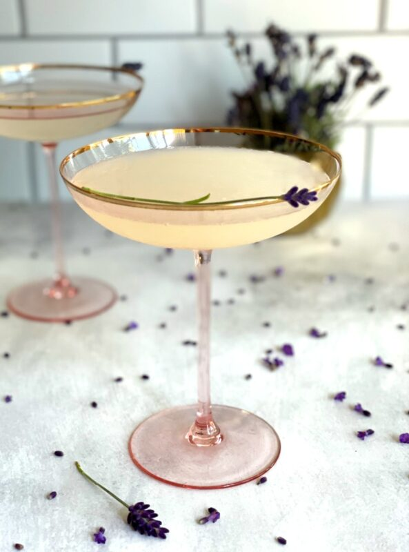 lavender lemon drop martinis in coupe glasses