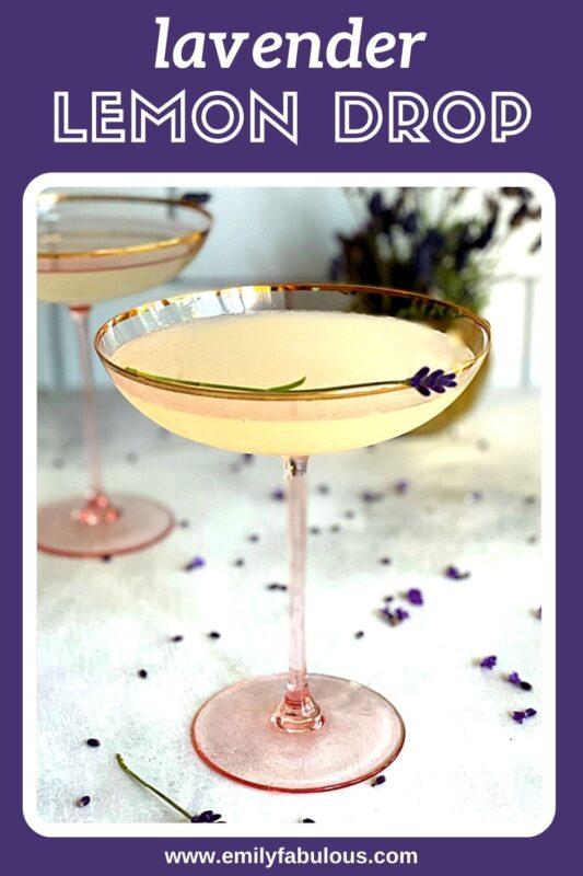 lemon drop cocktails with fresh lavender garnish