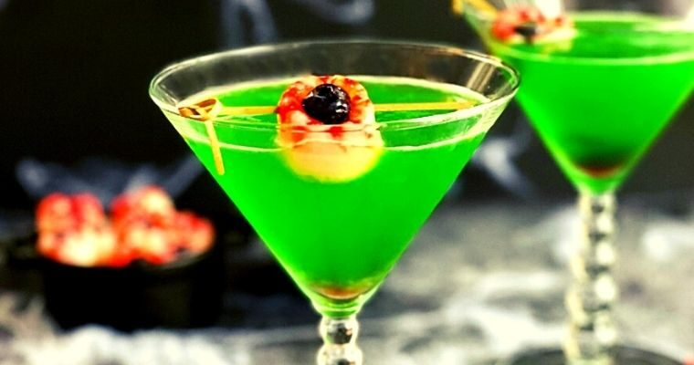 Green Halloween Lychee Gin Cocktail