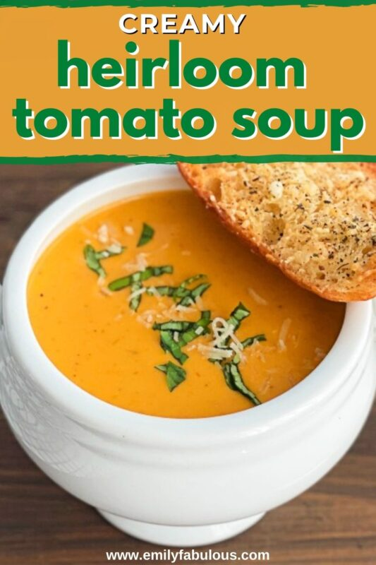roasted heirloom tomato soup with toasted bread